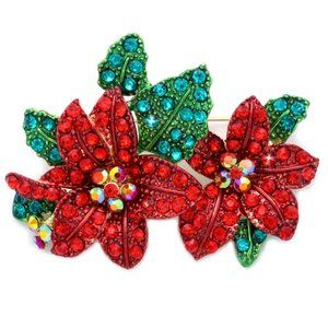 Amazing POINSETTIA Flowers Necklace Pendant Brooch
